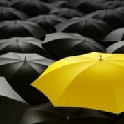 En gul paraply omringet av svarte paraplyer. Bilde illustrere at man skiller seg ut