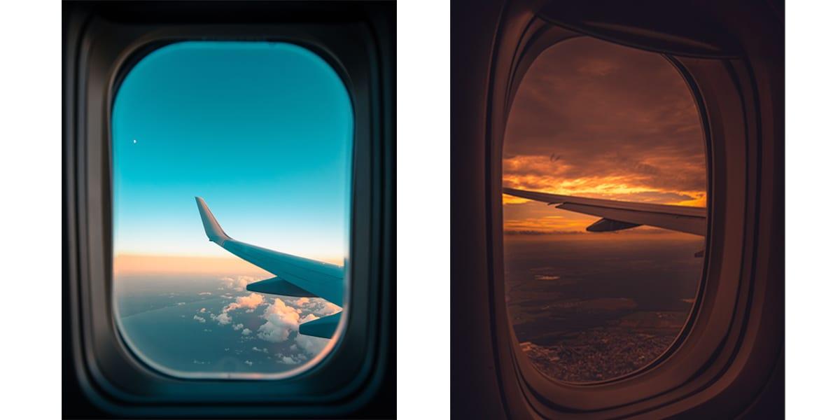 Fly vinge ut i fra flyvindu med varme og kalde fareger