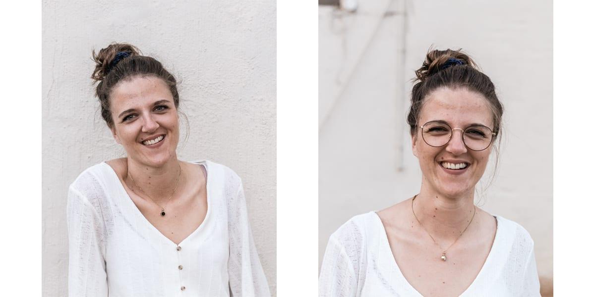 Portrett bilde av jente som smiler