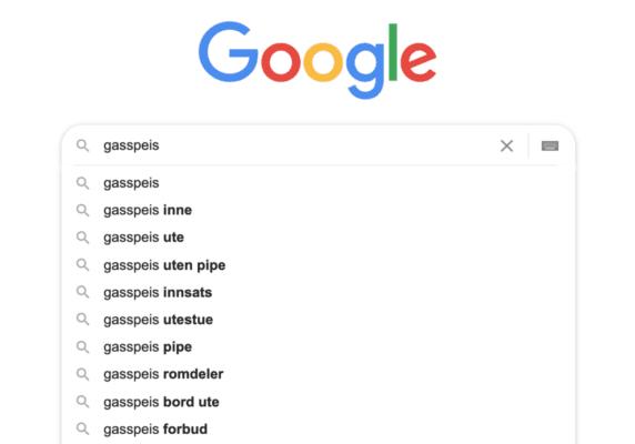 Bilde av Google-søkeresultat når man søker på gasspeis