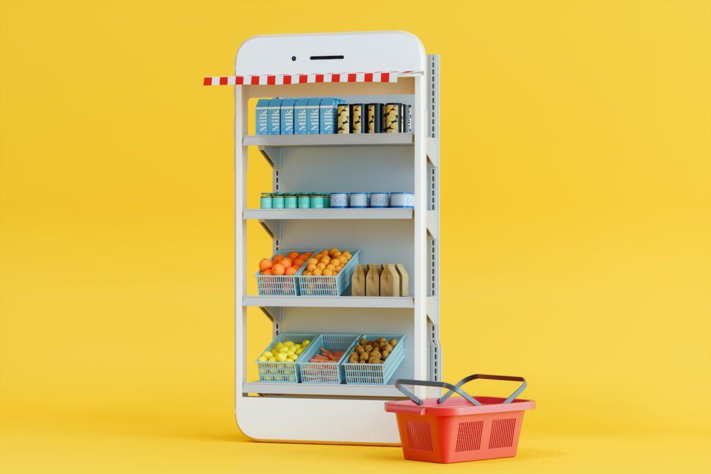 Bilde som illustrerer nettside og nettbutikk, med butikkhylle og handlevogn