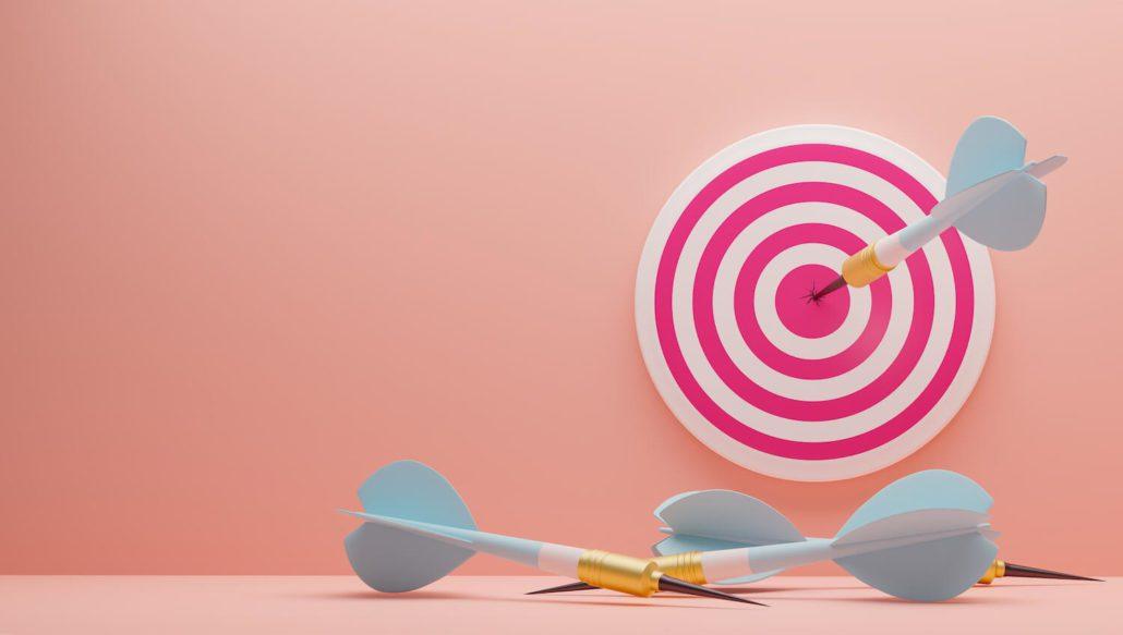 Illustrasjon for performance marketing, med darts og piler