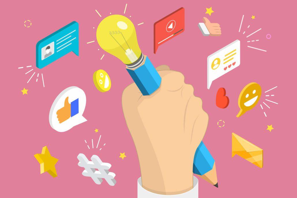 Hånd som holder opp en blyant med en lysende pære på enden, illustrer innholdsmarkedsføring